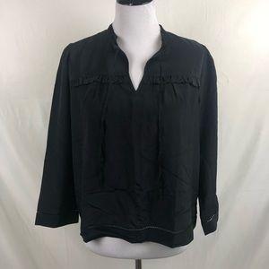 J. Crew Point Sur silk popover shirt in black